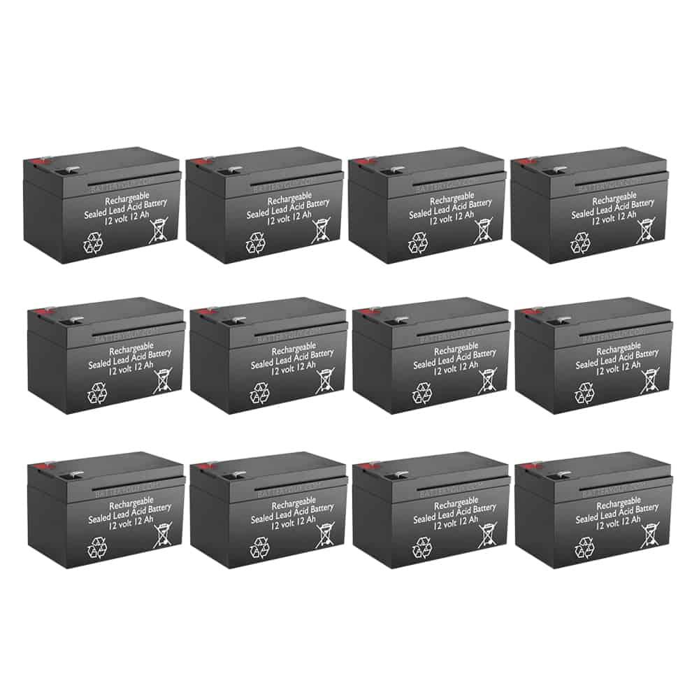 12v 12Ah Rechargeable Sealed Lead Acid High Rate  Battery Set of Twelve