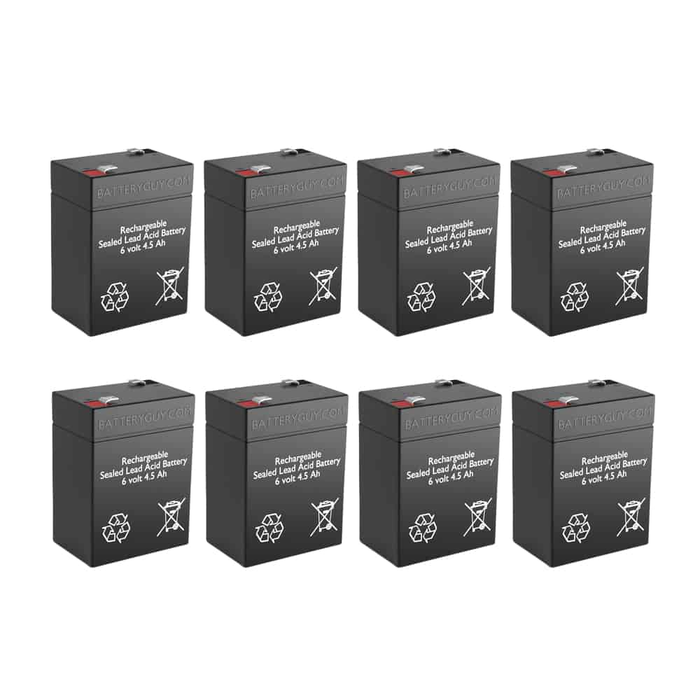 6v 4.5Ah Rechargeable Sealed Lead Acid (Rechargeable SLA) Battery Set of Eight
