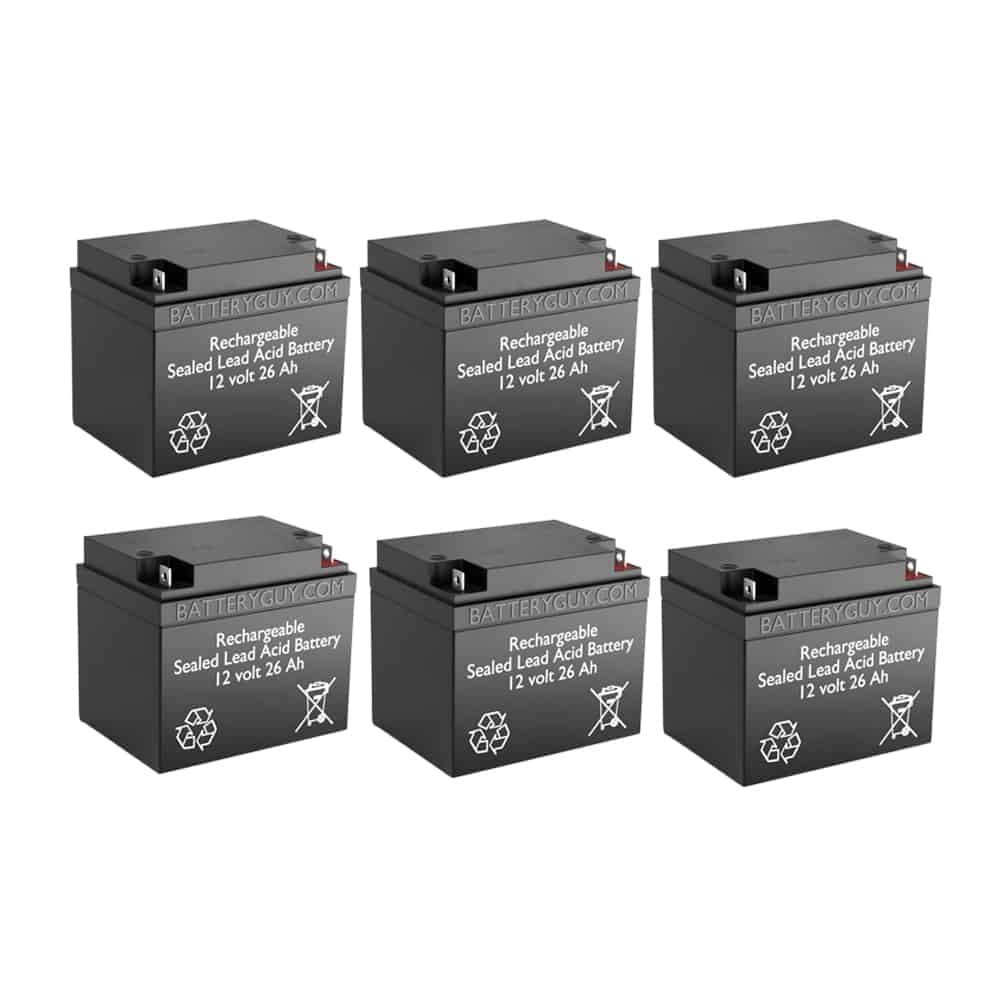 12v 26Ah Rechargeable Sealed Lead Acid (Rechargeable SLA) Battery | BG-12260NB (Qty of 6)