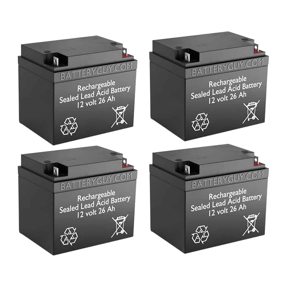 12v 26Ah Rechargeable Sealed Lead Acid (Rechargeable SLA) Battery   BG-12260NB (Qty of 4)