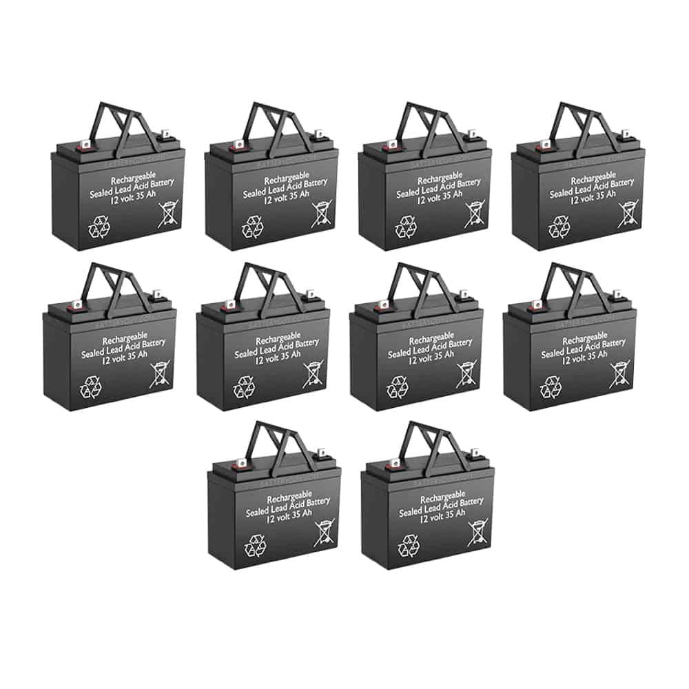 12v 35Ah Rechargeable Sealed Lead Acid (Rechargeable SLA) Battery Set of TEN