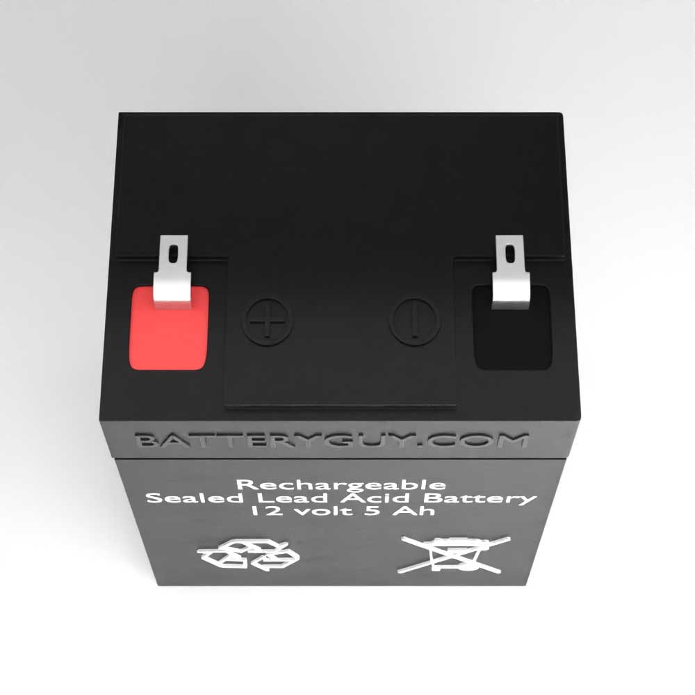 Top View - 12v 5Ah Rechargeable Sealed Lead Acid (Rechargeable SLA) Battery