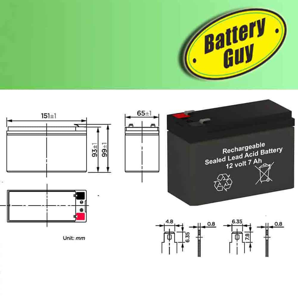 Dimensions - 12v 7Ah Rechargeable Sealed Lead Acid (Rechargeable SLA) Battery