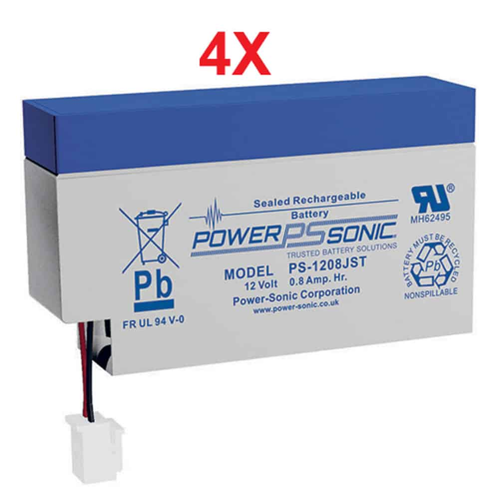 Power-Sonic PS-1208WL | Rechargeable SLA Battery 12v 0.8Ah (Qty of 4)