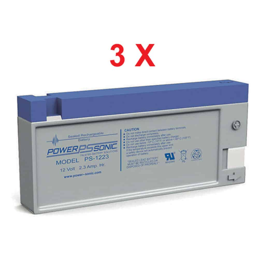 Power-Sonic PS-1223 | Rechargeable SLA Battery 12v 2.3ah (Qty of 3)