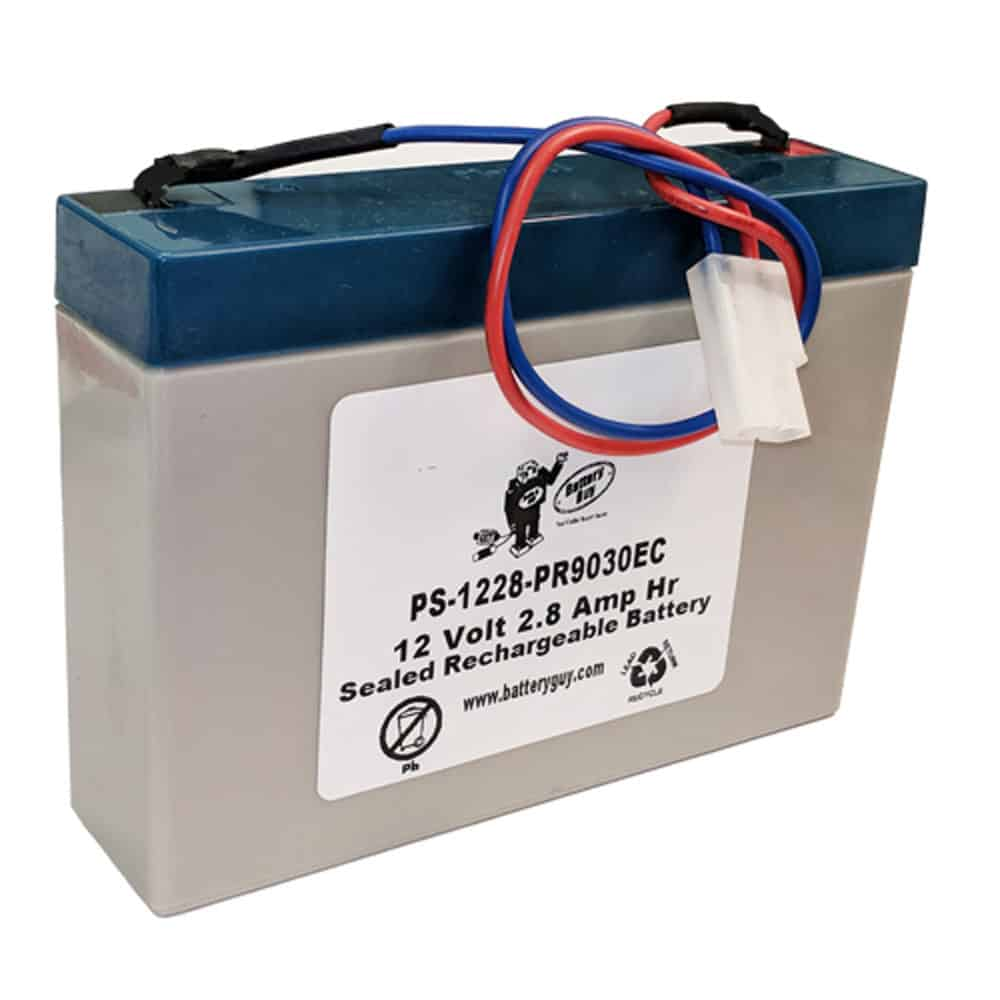 Power-Sonic PS-1228 with wire leads and PR9030EC connector | Rechargeable SLA Battery 12v 2.8ah
