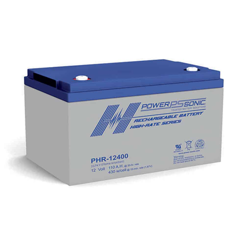 Power Sonic PHR-12400 Rechargeable SLA Battery 12V 430 Watts/Cell T8 Terminal