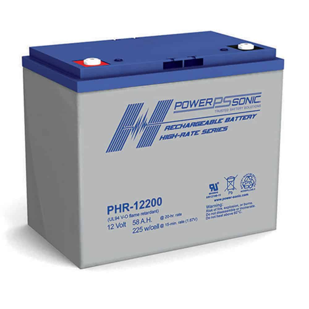 Power Sonic PHR-12200 Rechargeable SLA Battery 12V 192 Watts/Cell T6 Terminal