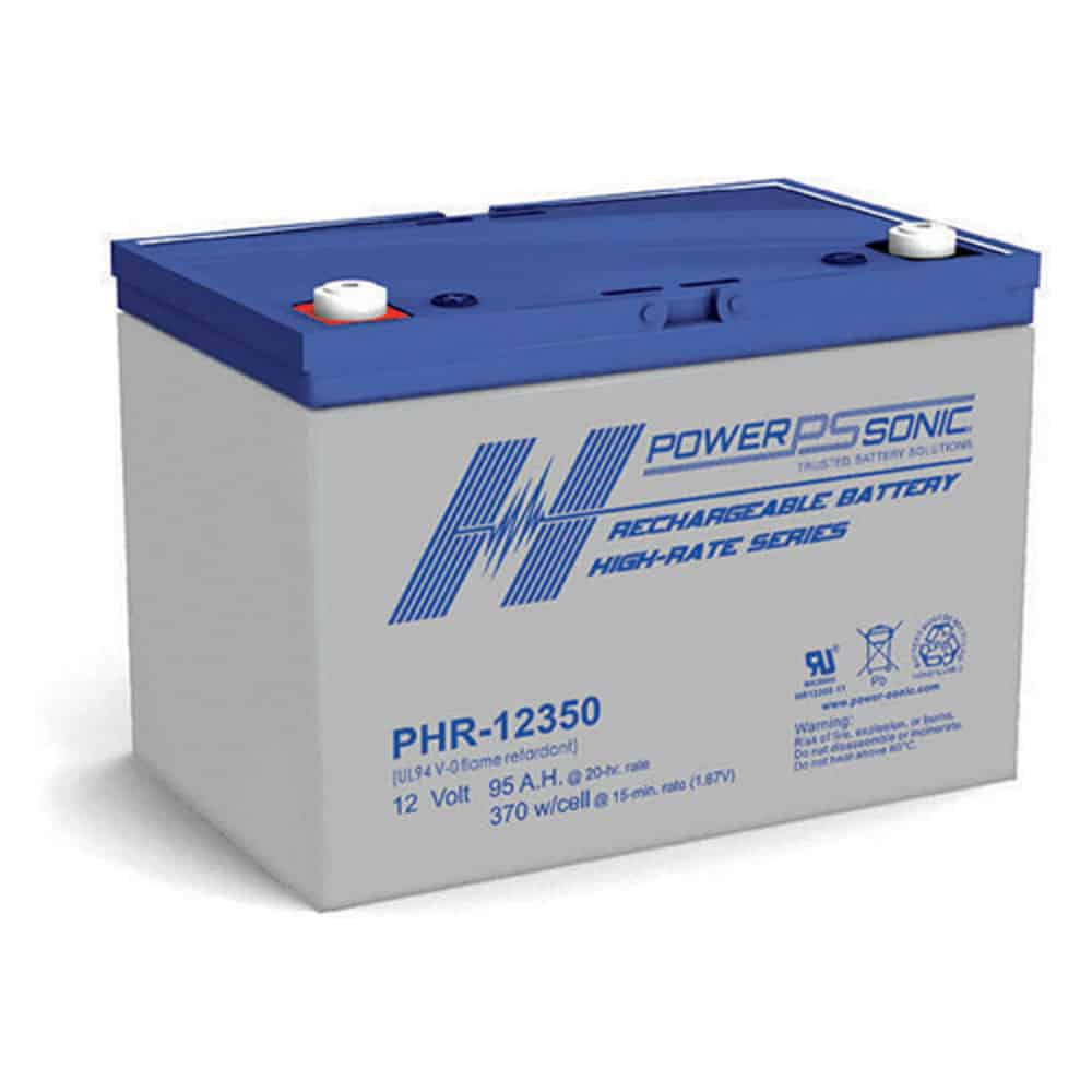 Power Sonic PHR-12350 Rechargeable SLA Battery 12V 340 Watts/Cell T6 Terminal