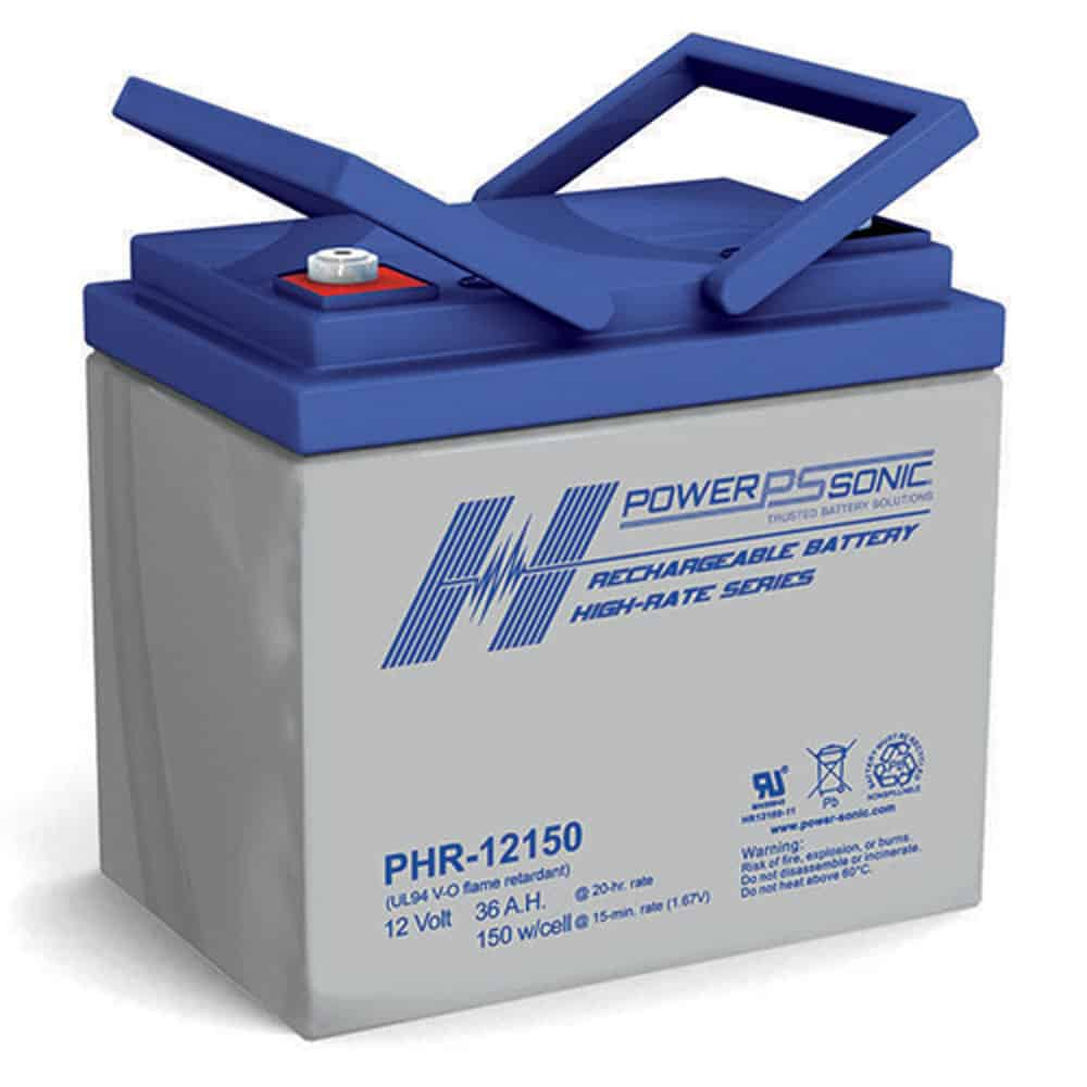 Power Sonic PHR-12150 Rechargeable SLA Battery 12V 129 Watts/Cell T6 Terminal