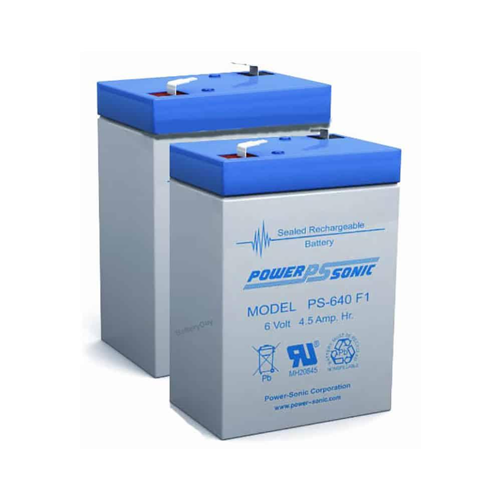 Power-Sonic PS-640-F1 | Rechargeable SLA Batteries 6v 4.5Ah Set of 2