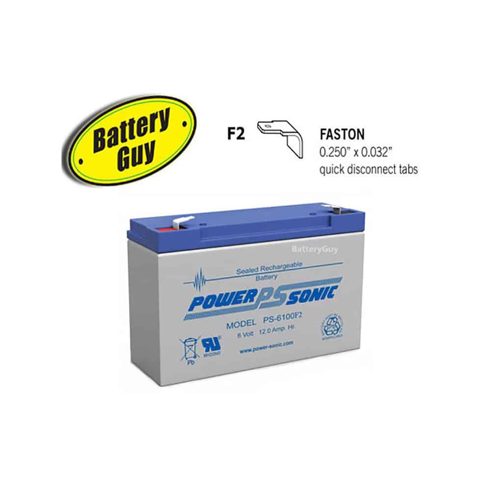 Power-Sonic PS-6100 F2 | Rechargeable SLA Battery 6v 12Ah