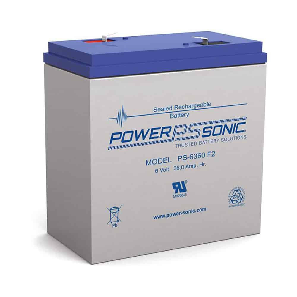 Power-Sonic PS-6360 F2| Rechargeable SLA Battery 6v 36Ah