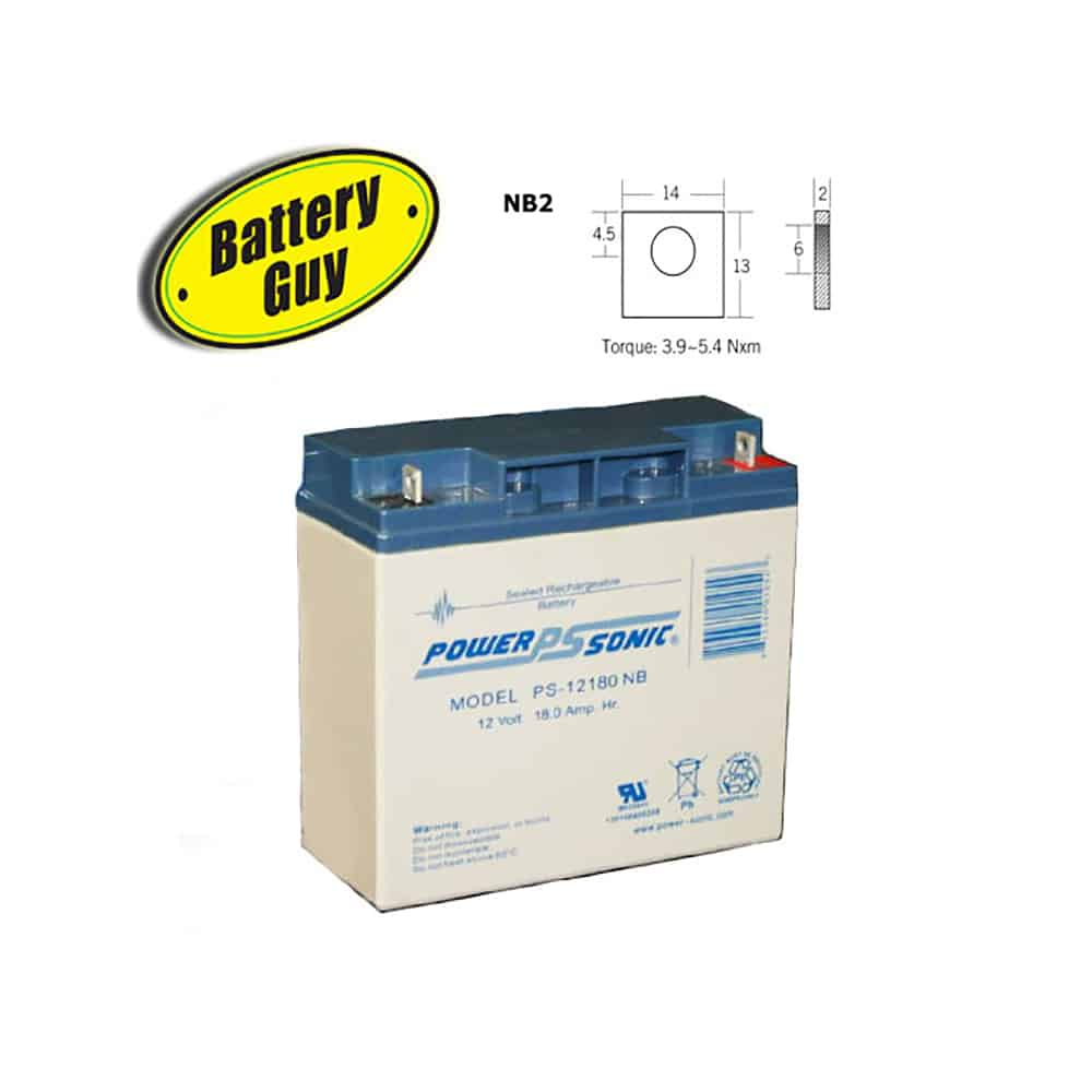 Power-Sonic PS-12180 NB   Rechargeable SLA Battery 12v 18Ah