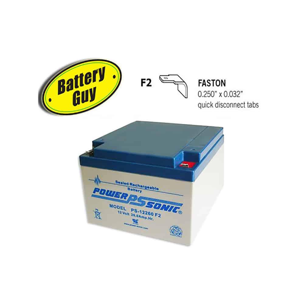 Power-Sonic PS-12260 F2 | Rechargeable SLA Battery 12v 26Ah