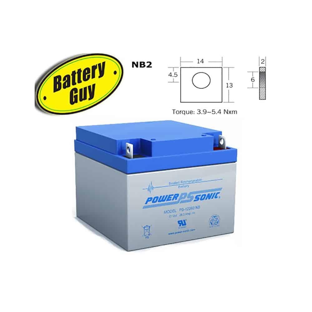 Power-Sonic PS-12260 NB | Rechargeable SLA Battery 12v 26Ah